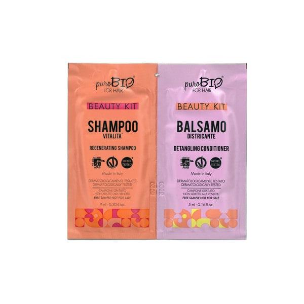 Beauty Kit Shampoo vitalità e Balsamo districante puroBIO for hair